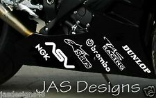 Belly Pan Decals Stickers Vinyl Race Trackday Bike x12 BSB MOTO GP WHITE