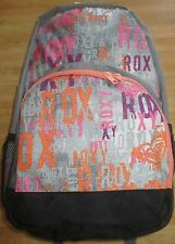 NEW ROXY BACKPACK BOOK SCHOOL STUDENT Laptop Tablet Pouch BAG Grey Pink Peach
