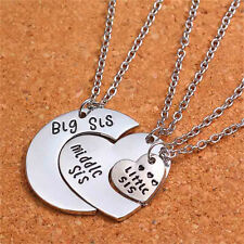 Love Charm 3pcs Big Middle Little Sisters Necklaces Gift Silver Hearts Pendant