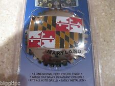MARYLAND STATE FLAG CAR GRILLE BADGE CHROME EMBLEM BALTIMORE