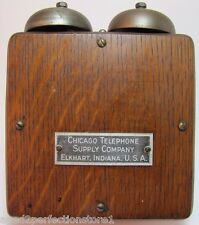 Old Chicago Telephone Supply Co Wooden Phone Ringer Box Elkhard Indiana USA