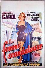Affiche SCANDALE A MILAN Vittorio Gassman MARTINE CAROL AFF. Belge 1956