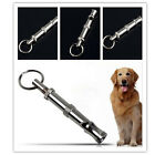 Pet Training Adjustable Ultrasonic Sound Metal Whistle Keychain Pitch Silver