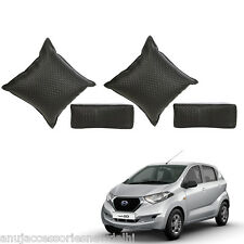 Car Seat Neck Rest & Cushion Pillow Kit Combo (Black) For Datsun Redi Go