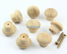 40 Pieces 24mm Unpainted Wooden Drawer Pull Cabinet Knob Furniture Wood Handle