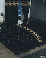 KING SIZE DUVET COVER SET ATHENS GREEK KEY BLACK METALLIC GOLD BORDER ELEGANT