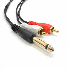 1m 6.35mm 1/4 inch Mono Jack Plug to Phono RCA Plugs SCREENED Audio Cable [00829