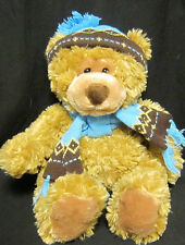 """Mary Meyer 17"""" Plush Brown Bear with Knit Winter Hat and Scarf"""