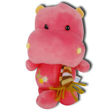 "Red Hippo Wearing Scarf Soft Stuffed Animal Plush With Suction Cup 7"" New"