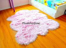 Mongolian Pink Faux Fur Area Rug Girl Nursery Rug Throw Rug Furry Play Rugs New