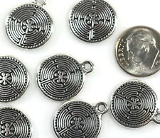 TierraCast~Celtic Labyrinth Charm~ Antiqued Silver Plated Pewter Charms~4 Pcs