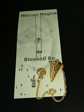 Wiccan/Pagan Triquetra Pendulum, Keepsake or Stone Locket. Gold Plated. SALE