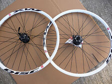 "26"" MTB MACH1 MX WHITE Rims SHIMANO Deore 8/9 Speed Hubs New Wheelset DISC ONLY"