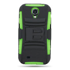 Belt Clip Holster Cover + Black Neon Green Hybrid Case Samsung GALAXY S4 i9500