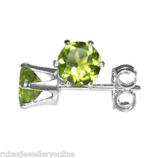5mm ROUND FACETED GENUINE PARROT GREEN PERIDOT 925 STERLING SILVER STUD EARRINGS