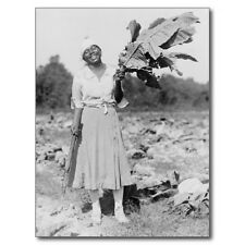 """Lady Holding Large Tobacco Leaf in Field"" ...with Cutter-  'Postcard'"