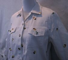 Sweet Lily NWT Stunning Embroidered Jean Jacket White Cotton Blend Sz P/M