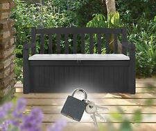 Gartenbank mit Kissentruhe Sitzbank Kissenbox Truhenbox Truhenbank Bank Box