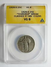 1926 S STANDING LIBERTY QUARTER TEARDROP ERROR + DIE CLASHED OBVERSE E C-5295