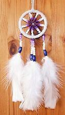TRAUMFÄNGER D= 5,0 cm weiß, Dreamcatcher Perlen, Indianer Federn, Western Deko