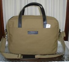 Brooks Brothers Briefcase Satchel Messenger Bag Tan Khaki Canvas Leather NWT