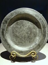 "c1680 17th century PEWTER charger TRENCHER incised multi reed ENGLAND 16"" marked"