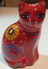 Art Deco Cat Figure Mexico Pottery Dark Red Floral Painted Design