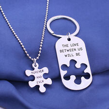 Puzzle Love Between Us Forever Pendant Necklace Key Chains Keyrings Family Lover