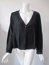 Eileen Fisher Black Open Front Textured Cover Up Cardigan Shirt Top L (12)