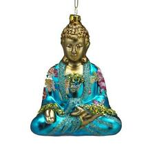 "BUDDHA GLASS CHRISTMAS ORNAMENT 5"" Turquoise Kurt Adler Butterfly Flower Details"