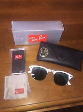Ray-Ban 3016 48-20 Club Master Sunglasses AS-IS.RARE White/Gold Wayfarer Aviator