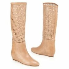NEW Women's Loeffler Randall Beige Perforated Leather Boots Size 7.5