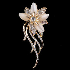 Women Vintage Alloy Rhinestone Crystal Flower Wedding Bridal Bouquet Brooch Pin