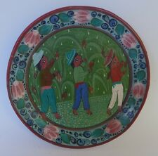 "Mexican Tonala burnished plate pineapple harvest SALVADOR VAZQUEZ 5 7/8 "" d."