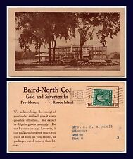 US RHODE ISLAND BAIRD NORTH GOLD AND SILVERSMITHS POSTED 1912 TO DIX MAINE