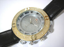 Iced Out Bling Bling Big Case Leather Band Men's Watch with 2 Extra Bezels #3035