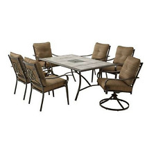 Outdoor Patio Dining Set 7 Piece Brown Steel Chair Table Lawn Garden Furniture
