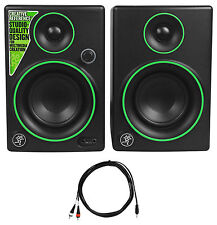 "(2) New Mackie CR3 3"" Creative Reference Multimedia Monitors Speakers+Cable"