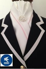 HHD White Satin Dressage Pre-tied Show Stock Tie  Pink Piping & a Silver Pin