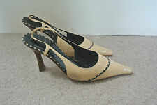 CHANEL Beige Leather Sling Back, Pointed Toe Shoes, Size 37.5