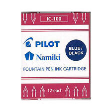 Namiki Pilot Fountain Pen Ink Cartridges, 12-pk, Blue/Black