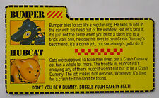 VINTAGE! 1991 Tyco Crash Dummies Replacement Filecard-Bumper and Hubcat