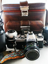 Vintage Minolta XD11 XD-11 Camera Leather Case Rokkor Lenses Accessories Bundle