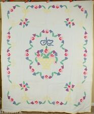 BEAUTIFUL Vintage 30's Deco Basket Floral Applique Antique Quilt ~NICE QUILTING!