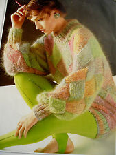 "#82 Ladies Mohair Entrelac Sweater 34"" Finished Size 41"" Vintag Knitting Pattern"