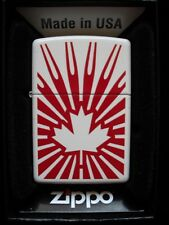 CANADIAN FLAG WITH BURSTS MAPLE LEAF ZIPPO LIGHTER GIFT BOX WHITE RED SHOCKING !