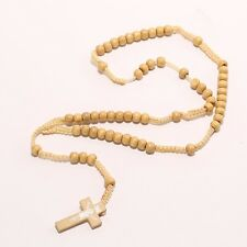 Wooden Catholic Rosary Cross Necklace/Prayer/9mm Beads/Jesus/Wood/Crucifix/25 in