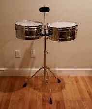 New Aruba Percussion Chrome Timbale Set with Cowbell and Stand Included