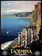 TRAVEL TAORMINA SICILY ETNA GREEK THEATRE ITALY POSTER ART PICTURE 1037PYLV