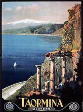 Voyage SICILE Taormine Théâtre grec ETNA ITALIE Poster Art Image 1037pylv